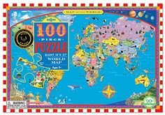 Fun & Educational way to start learning about maps!  World Map 100 Piece Puzzle.