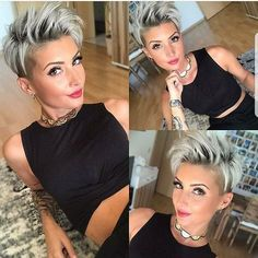 Wow this style pops. @reneemstylist @reneemstylist. I love featuring #pixieswithhoops. Who else rocks them???