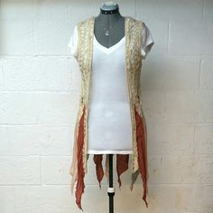 Rust crochet vest Nwt, very cute crochet vest, Rust an greyish blue in color. Very unique an cool! Under arm across back measures around 18/19in, length measures about 39in. White top not available, necklace available in separate listing. No trades, no holds, bundle and Save.   Tops