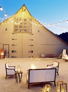How amazing is this setting? Love the barn + the chic outdoor seating - not to mention the fire pit. See the full wedding on SMP... http://www.StyleMePretty.com/2014/02/06/elegant-carmel-wedding-with-photography-by-jose-villa/ Photography: Jose Villa