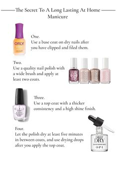 The secret to a long lasting at home manicure. To get a long lasting manicure at home you need a goo Manicure Pedicure At Home, Nails At Home, Manicure And Pedicure, Beauty Nails, Diy Beauty, Matte Pink Nails, Nail Care Routine, Top Coat Nail Polish, Routine Planner