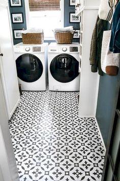 19 Modern Farmhouse Laundry Room Decor Ideas- Love this wall color! Vinyl Tile Flooring, Vinyl Tiles, Diy Flooring, Bathroom Flooring, Farmhouse Laundry Room, Laundry Rooms, Laundry Shop, Laundry Room Inspiration, Small Laundry