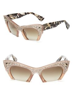 Miu Miu Semi-Rimless Embellished Cat Eye Sunglasses