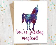 Mature Funny Greeting Card Unicorn Card by FourLetterWordCards