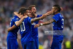 Juventus players celebrate following their progression to the final during the UEFA Champions League Semi Final, second leg match between Real Madrid and Juventus at Estadio Santiago Bernabeu on May 13, 2015 in Madrid, Spain.