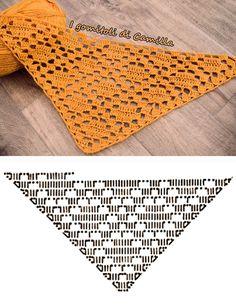 Crochet pattern for the triangular shawl Phlegethon - Version 2 - symmetrical . - Crochet pattern for the triangular scarf phlegethon – version 2 – symmetrical scarf – pattern - Poncho Crochet, Crochet Shawl Diagram, Crochet Chart, Filet Crochet, Crochet Scarves, Crochet Motif, Crochet Clothes, Crochet Lace, Thread Crochet