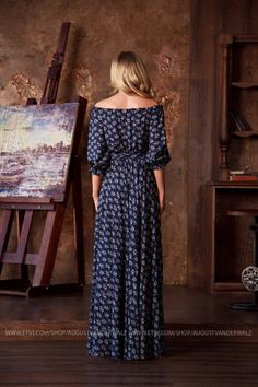 "Designer womens dresses Dark blue floral summer Dress. Long Floral #Dress Maxi from my collection  ""Smell of summer"" Dark blue floral maxi off shoulder dress  This dress perfect for summer period o... #dresses #clothing #fashion #eveningdress #bridesmaids"