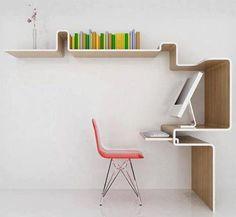 Modern Workspace  :: iMac - Simple Minimal Wall Shelving Desk Design