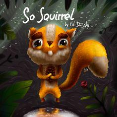 Просмотреть иллюстрацию So Squirrel из сообщества русскоязычных художников автора Фил Дунский в стилях: Анимационный, Детский, Реклама Персонажи, нарисованная техниками: Растровая (цифровая) графика, Смешанная техника.