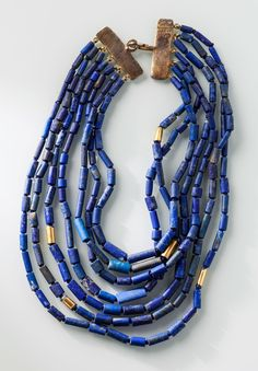 Heike Grebenstein Seven Strand Afghan Lapis Lazuli Bead Gold Plated Necklace $1,650.
