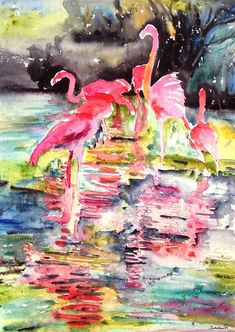 pink flamingo oil paintings - Google Search