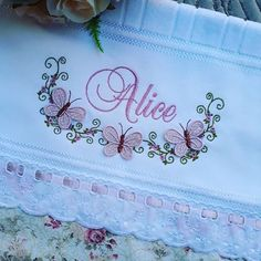 Baby Embroidery, Silk Ribbon Embroidery, Patch Quilt, Machine Embroidery Designs, Embroidery Patterns, Baby Sheets, Embroidered Towels, Decorative Towels, Crochet Borders