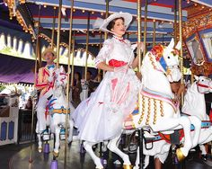 Mary Poppins riding the famous Jingle horse on the King Arthur Carrousel at Disneyland. Find out more amazing facts about this carrousel here.