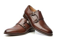We'll go traditional with our black leather dress boots; let's mix it up for brown. Also, Goodyear welted.