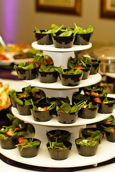 Mini strawberry-spinach salads for our guests! Shining Stars Catering- KC,MO