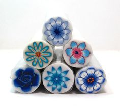 Sale  set of 6 blue Polymer Clay Millefiori Flower by sigalsart, $36.00