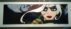 X-Men Rogue Pop Art Lichtenstein Noir hand-pulled by stacyswirl