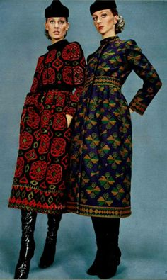 1970 Guy Laroche tapestry dress red black yellow long sleeves mini boot designer vintage fashion style color photo print ad models magazine 70s