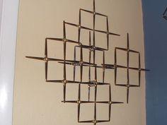 MID CENTURY STYLE MODERN ABSTRACT 3D MASONRY NAIL WALL SCULPTURE JERE | eBay