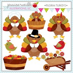 Pilgrim Turkeys cute set comes with 8 cute graphics including: a turkey in a pilgrim hat, a turkey in a girl pilgrim bonnet, a turkey with an