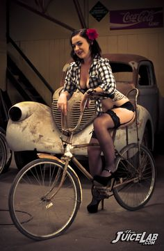 #cruiser #pinup Miss Rebekah Rowe with the badass toys of Chris Berkahn