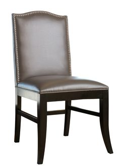 Royal Gray Leather With Nailhead Trim Dining Chair