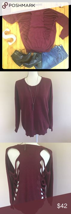 LIRA Originals Open Back Burgundy Sweater Size S These LIRA Originals Open Back Burgundy Sweater Size S is in excellent condition. Super edgy! Must have 🍁 LIRA Originals Sweaters