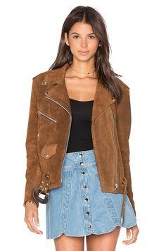 Understated Leather x REVOLVE Western Suede Moto Jacket en Bronce   REVOLVE