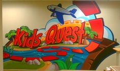 Love this graphic with the splash of color and theme direction! Kids Church, Church Ideas, Worlds Of Wow, Church Nursery, Kids Ministry, Entrance Ideas, Church Design, Kids Zone, Indoor Playground