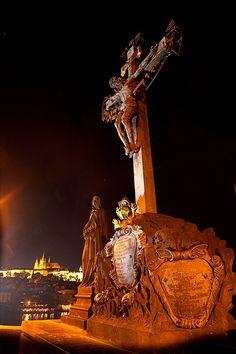 Statue of Christ on the Charles Bridge, Prague, Czech Republic