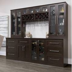NewAge Products Home Series Shaker Style Back Bar with Wine Storage Finish: Espresso Crockery Cabinet, Drinks Cabinet, Wine Cellar Design, Wine Design, Bar Furniture, Kitchen Furniture, Furniture Shopping, Furniture Online, Classic Furniture