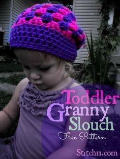 FREE crochet pattern for a Toddler Granny Slouch Hat by Crochet Kids Hats, Crochet Beanie Hat, Love Crochet, Crochet Crafts, Crochet Projects, Crochet Baby, Knit Crochet, Knitted Hats, Slouchy Hat