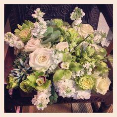Box of flowers! Includes succulents, green cymbidium blooms, green dendrobiums  and others!  #paulfennerfloraldesign #centerpieces #sunflowers #rosearrangements #dailyfowers #flowers #flowerstagram