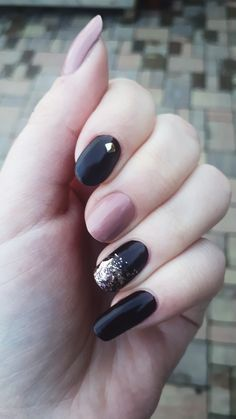 Dark brown and nude nails with glitter