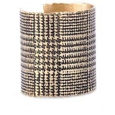 Saint Laurent Glen Check Cuff ($318) ❤ liked on Polyvore featuring jewelry, bracelets, accessories, cuffs, gioielli, oro verde sat, cuff bangle bracelet, bracelet bangle, hinged cuff bracelet and cuff jewelry