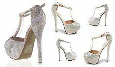 Zapato joya de fiesta con cristales tacon y plataforma. sandalia con pedreria.