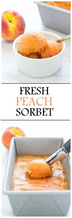 No Churn Fresh Peach Sorbet. Made with just 4 simple ingredients! The sorbet is dairy-free, refined sugar-free and has only 100 calories per serving! Why hesitate? Desserts Sains, Köstliche Desserts, Frozen Desserts, Dessert Recipes, Frozen Treats, Summer Desserts, Italian Desserts, Summer Treats, Healthy Desserts
