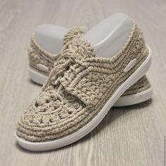 Обувь ручной работы. Ярмарка Мастеров - ручная работа. Купить Мокасины льняные вязаные. Handmade. Бежевый, вязаная обувь