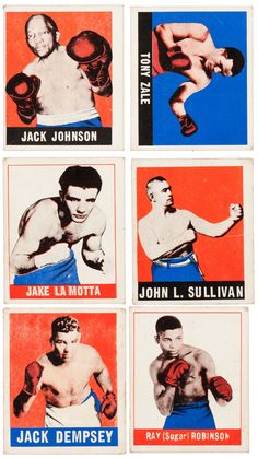 """Leaf bubble gum cards """"Knock-Out"""" Wrestling Posters, Boxing Posters, Boxe Fight, Boxing Images, Grudge Match, Sports Advertising, Boxing History, Jack Johnson, Sports Figures"""