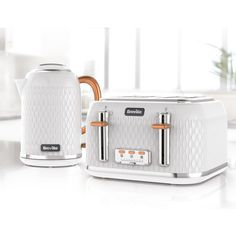 Curve Jug Kettle and Toaster Set, White and Rose Gold curve-white-rose - Breville®