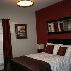 home accents bedroom Red Accent Wall Bedroom Red Bedroom Walls, Maroon Bedroom, Burgundy Bedroom, Feature Wall Bedroom, Accent Wall Bedroom, Bedroom Colors, Home Bedroom, Accent Walls, Bedroom Ideas