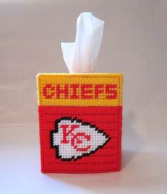 Kansas City Chiefs tissue box cover in plastic canvas PATTERN ONLY by AuntCC for $2.50