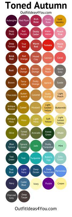 Tonificado Outono Paleta de cores (Soft Outono Profundo)                                                                                                                                                                                 Mais