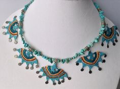 """OYA"" Needle lace and turquoise necklace"