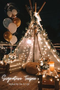 Birthday Decorations At Home, Wedding Hall Decorations, Birthday Party Decorations, Birthday Goals, Birthday Balloons, Event Decor, Anniversary Surprise, Romantic Surprise, Teepees