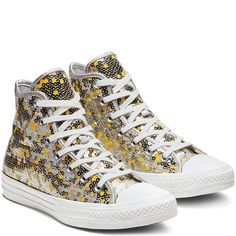 451822fc29421 Converse Chuck Taylor All Star Holiday Scene Sequin High Top Pure  Silver Gold White