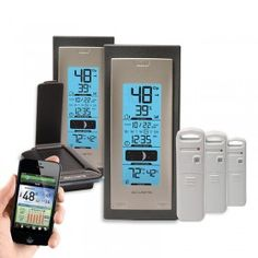 AcuRite Temperature and Humidity Environment System 920ES | This AcuRite Environment System includes an AcuLink Internet Bridge, two (2) wireless thermometer displays, and three (3) indoor or outdoor Temperature and Humidity Sensors.