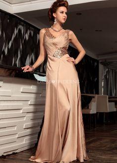 Elegante vestido de noche de satén mujer marrón con cuello en v de lentejuelas…