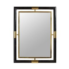 Satina Finished Brass and Black Penshell Inlaid Mirror