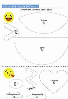 Apostila de Moldes de Emoticons - Como Fazer Emoji Templates, Templates Printable Free, Felt Crafts, Diy And Crafts, Crafts For Kids, Emoji Theme Party, Emoji Costume, Diy Paper, Paper Crafts